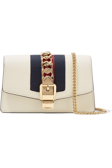 ad05ce9bd161f Gucci. Sylvie mini chain-embellished leather shoulder bag
