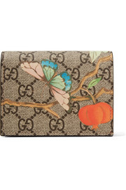 Gucci Printed coated-canvas and textured-leather wallet