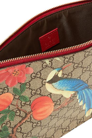 Gucci Bedruckter Beutel aus beschichtetem Canvas und strukturiertem Leder Erkunden Verkauf Online BSwIclP