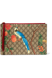 Printed coated-canvas and textured-leather pouch