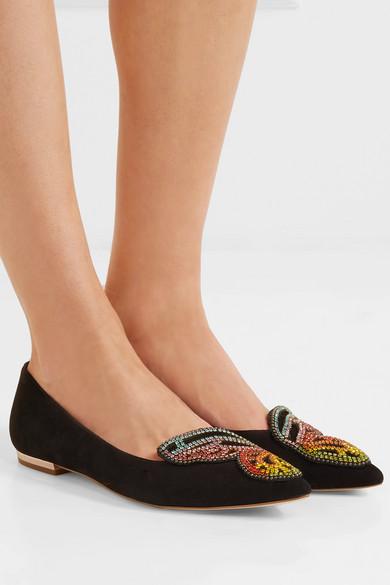 Sophia Webster Bibi Butterfly flache Schuhe aus Veloursleder mit spitzer Kappe und Verzierungen