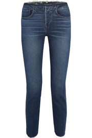 W4 Shelter distressed high-rise slim-leg jeans