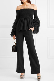 Alessandra off-the-shoulder smocked silk-georgette top
