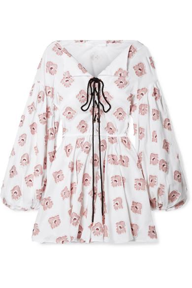 Caroline Constas Olympia Minikleid aus einer Baumwollmischung mit Fil Coupé in Metallic-Optik