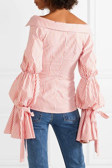 5a8913f3639 Caroline Constas. Margaret off-the-shoulder striped cotton-poplin shirt.  £425. Play. Zoom In