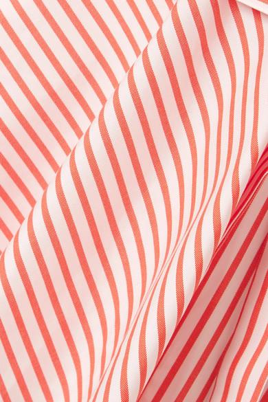 Caroline Constas Margaret schulterfreies Hemd aus gestreifter Baumwollpopeline