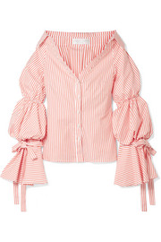 Margaret off-the-shoulder striped cotton-poplin shirt