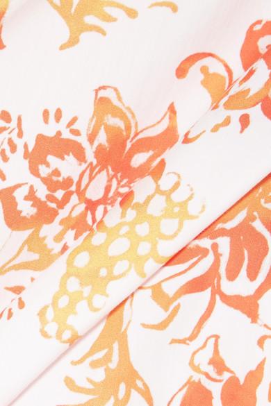 Caroline Constas Marcella schulterfreies Oberteil aus bedruckter Popeline aus einer Baumwollmischung