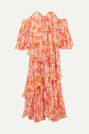 Ruffled tiered printed silk-chiffon maxi dress