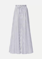 Striped cotton-voile wide-leg pants