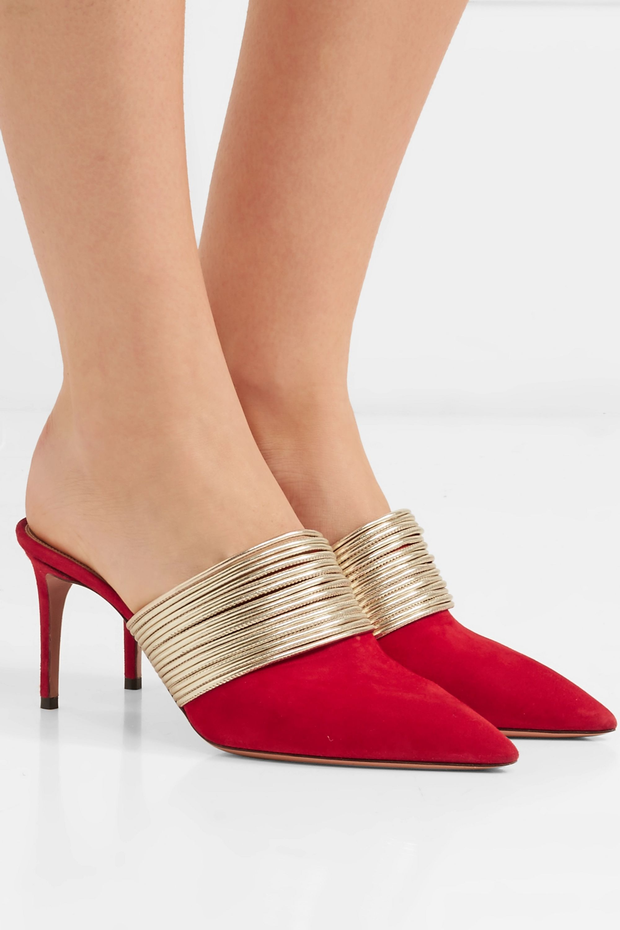 Red Rendez Vous leather and suede mules
