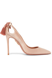 Aquazzura Forever Marilyn tasseled satin pumps