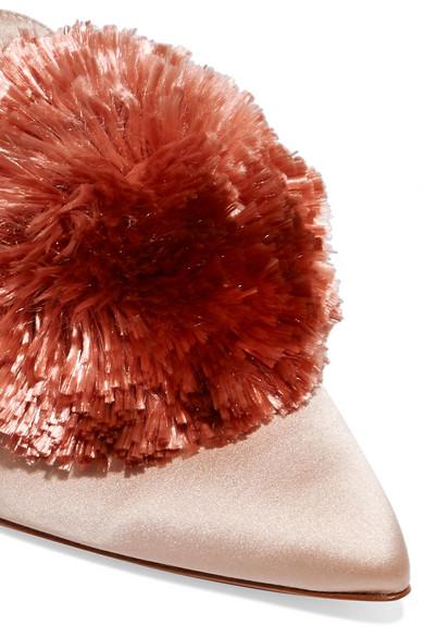Aquazzura Powder Puff Slippers aus Satin mit Pomponverzierung