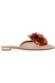 Aquazzura Powder Puff pompom-embellished satin slippers
