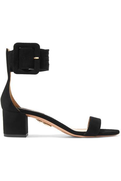 50Mm Casablanca Suede Sandals W/Buckle, Black