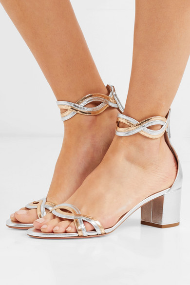 Aquazzura Moon Ray Sandals Made Of Metallic Leather With Cut-outs