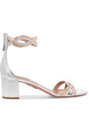Aquazzura Moon Ray cutout metallic leather sandals