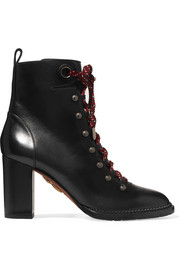 Hiker lace-up studded leather ankle boots