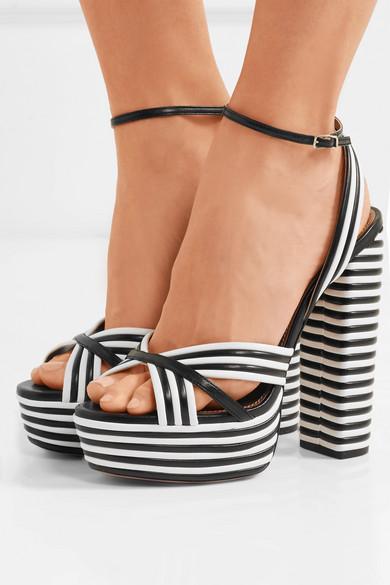 05e1df97f72 Aquazzura. Sundance striped leather platform sandals
