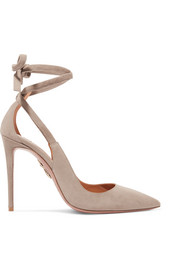 Aquazzura Milano cutout suede pumps
