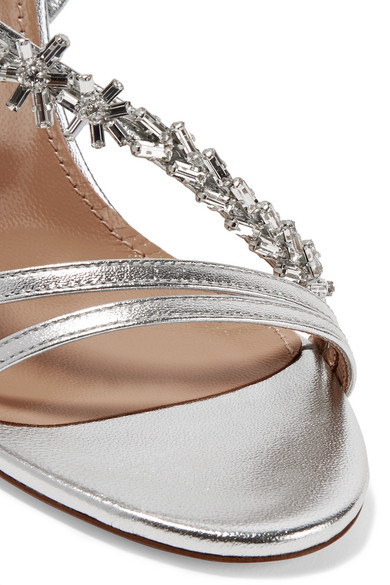 Aquazzura Chateau | Chateau Aquazzura kristallverzierte Sandalen aus Metallic-Leder 1d13f7