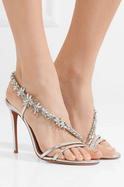 Chateau crystal-embellished metallic leather sandals