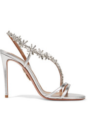 Aquazzura Chateau crystal-embellished metallic leather sandals