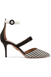 Very Downtown grosgrain-trimmed striped leather pumps