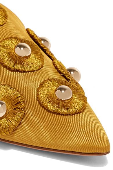 Aquazzura Sunflower Studded Slippers Of Moiré