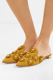 Sunflower embellished moire slippers