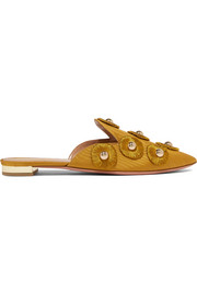 Aquazzura Sunflower embellished moire slippers