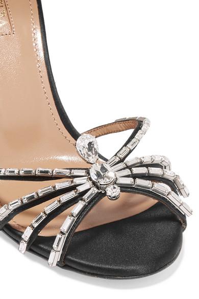 Aquazzura Spider Sandalen aus Satin mit Kristallen