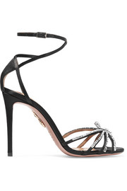 Aquazzura Spider crystal-embellished satin sandals