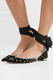 Bliss embellished suede point-toe flats
