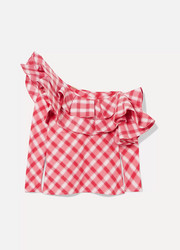 Johanna Ortiz Mangas Coloradas one-shoulder ruffled checked cotton top