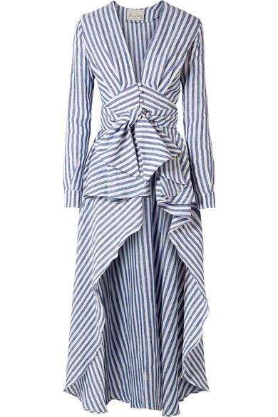 Johanna Ortiz Rio Grande asymmetrische Bluse aus gestreiftem Leinen mit Volants