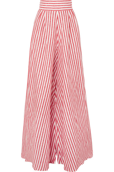 Johanna Ortiz - Tequila Striped Linen Wide-leg Pants - Red