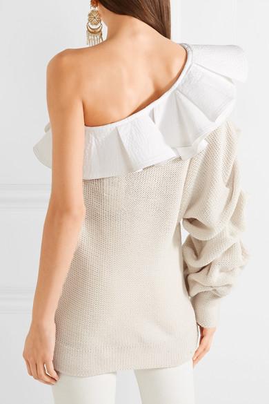 Johanna Ortiz Keresan Baumwollpullover mit Popelinebesatz und asymmetrischer Schulterpartie
