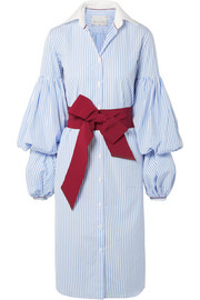 La Henrecia bow-embellished striped cotton-poplin dress