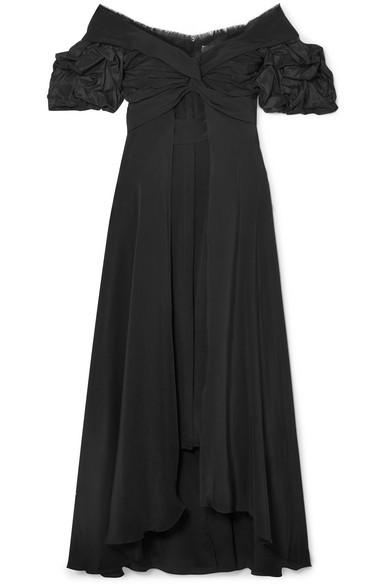 Nashville Piped Satin-crepe Midi Dress - Black Ellery Lmpnf0HUd