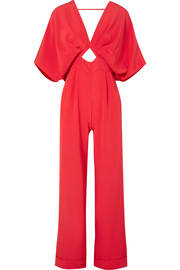 Canna bow-embellished silk crepe de chine jumpsuit
