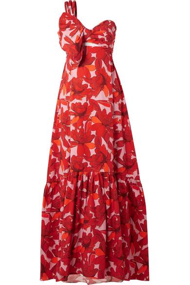 Johanna Ortiz Cimarron Maxikleid aus bedruckter Popeline aus einer Baumwollmischung mit asymmetrischer Schulterpartie