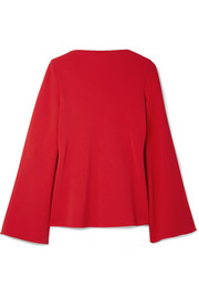 Open-back crepe blouse