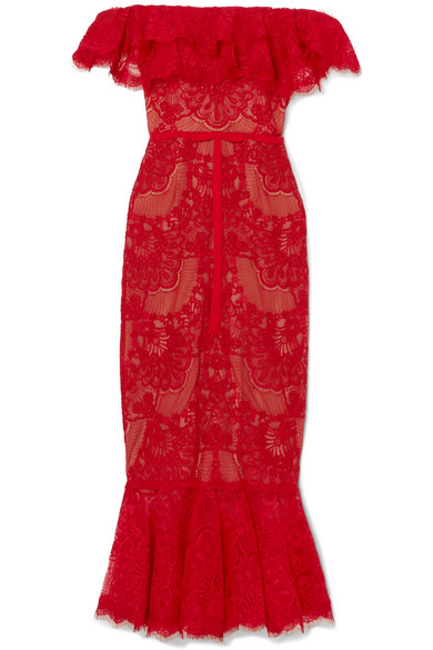 Marchesa Notte Strapless Midi Dress In Corded Top With Ruffles