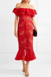 Marchesa Notte Off-the-shoulder ruffled corded lace midi dress