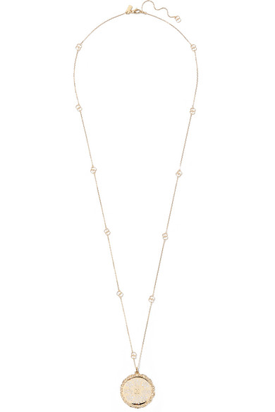 Gucci Icon 18-karat Gold And Enamel Necklace 7V4SKE
