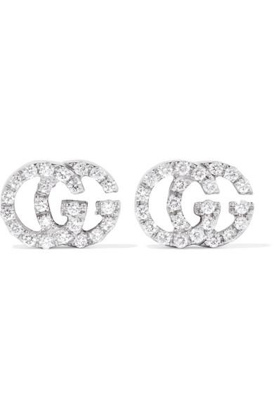 Gucci 18-karat White Gold Diamond Earrings - Silver DFLxV
