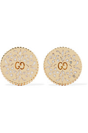 Icon 18-karat gold and enamel earrings