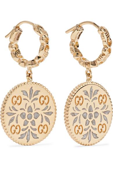 fc1bca4a7 Gucci | Icon 18-karat gold and enamel earrings | NET-A-PORTER.COM