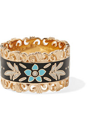 Icon 18-karat gold and enamel ring